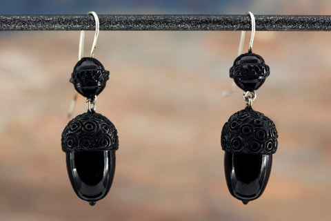 Victorian Whitby Jet Acorn Earrings