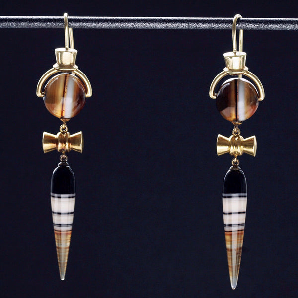 Victorian Banded Agate and Gold Drop Earrings