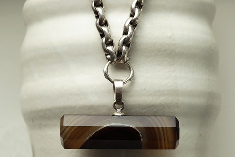 Banded Agate Bar Pendant with Heavy Silver Chain
