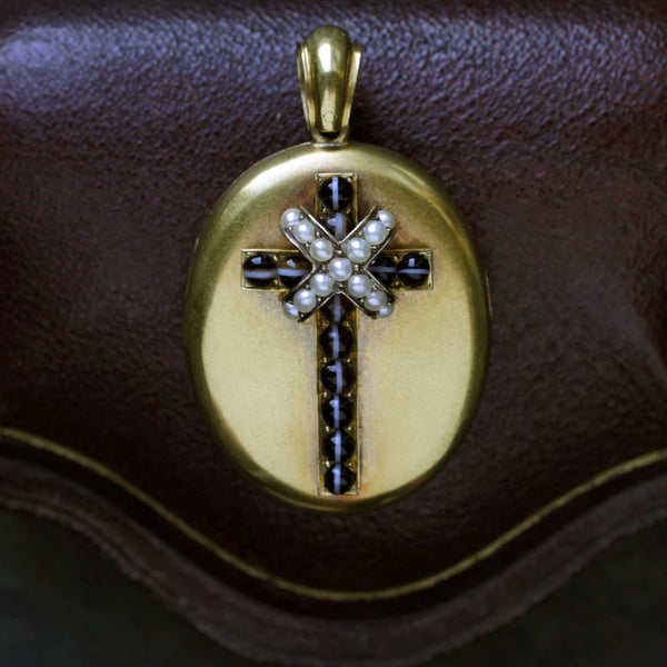 Victorian Banded Agate and Pearl Cross Locket