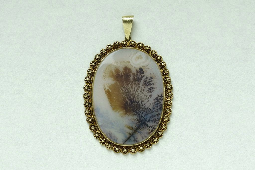 Large Agate Gold Pendant