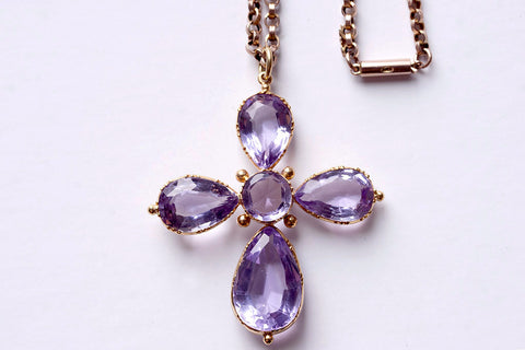 Early Victorian Amethyst Cross and Chain