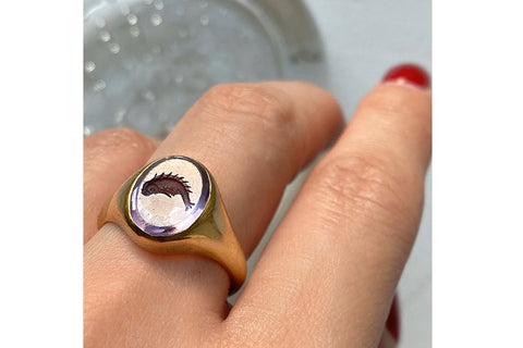 Amethyst 'Fish' Intaglio Ring
