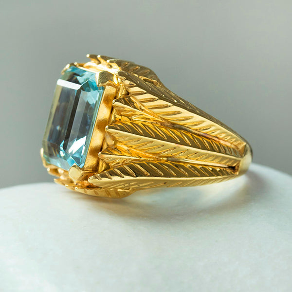 1940s French Aquamarine Cocktail Ring
