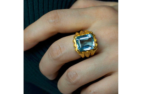 French Aquamarine Cocktail Ring