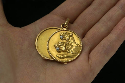 Art Nouveau Lion Locket with Diamonds