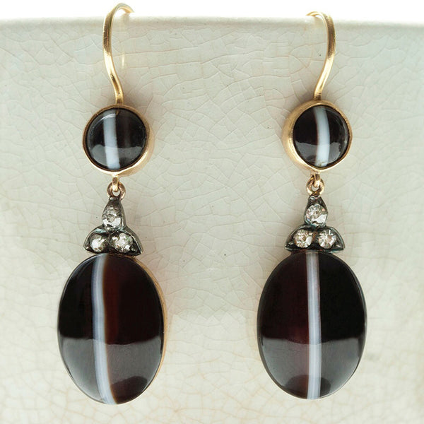 Victorian Banded Agate and Diamond Drop Earrings