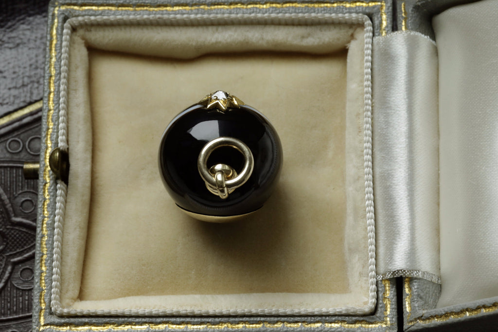 Victorian Banded Agate Orb Pendant with Diamond