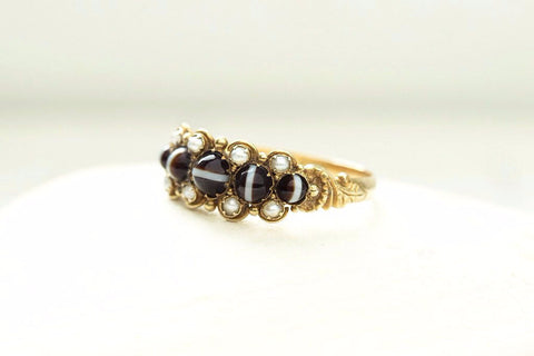 Mid Victorian Banded Agate and Pearl Ring