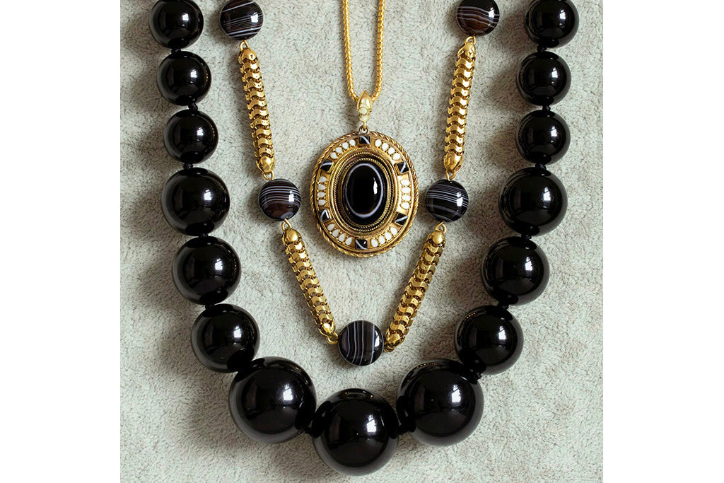 Late Victorian Banded Agate & Jet Jewelry