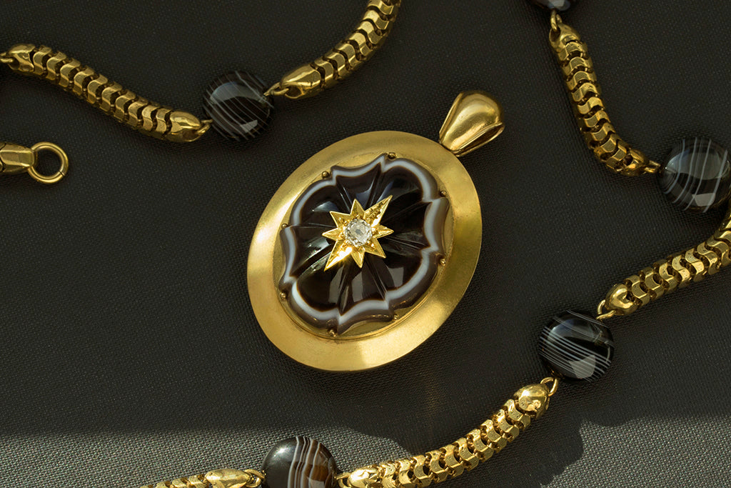Mid-Victorian Banded Agate Diamond Gold Locket