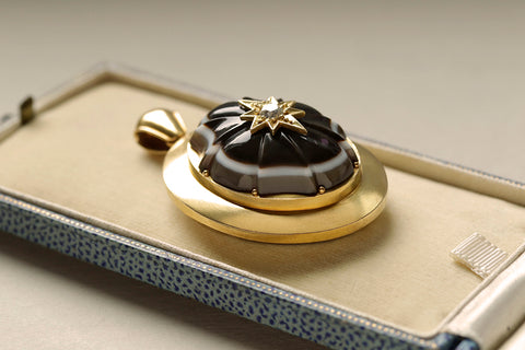 Victorian Banded Agate Diamond Gold Locket