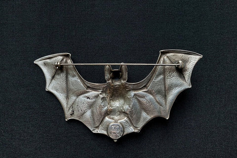 Huge Sterling Silver Bat Brooch
