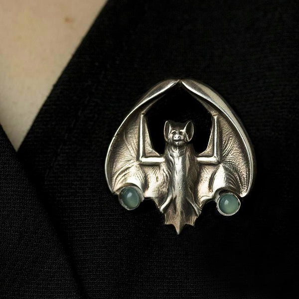 Arts and Crafts Silver Bat Brooch