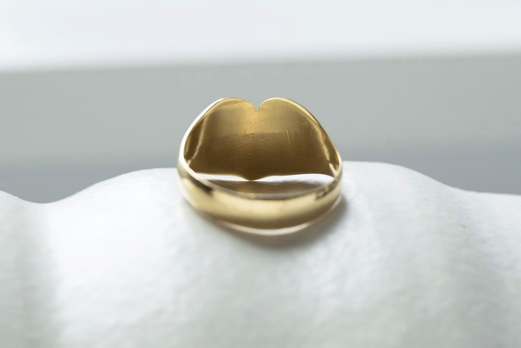 C.1916 Large Heart Gold Signet Ring