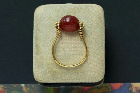 Victorian Egyptian Revival Scarab Swivel Ring I