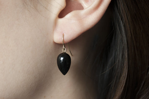 Victorian Black Coral Drop Earrings