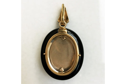 Victorian Black Enamel and Diamond Locket