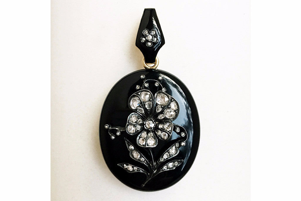 Victorian Black Enamel Diamond Pansy Locket
