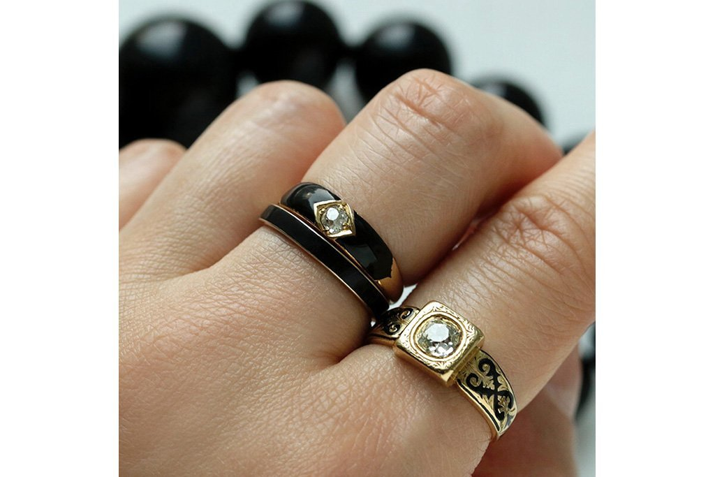 Victorian Black Enamel Diamond Band