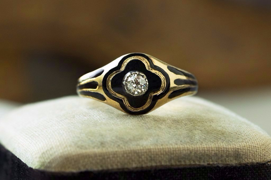Victorian Black Enamel Diamond Ring