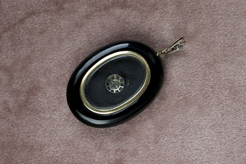 Mid-Victorian Black Enamel Diamond Locket