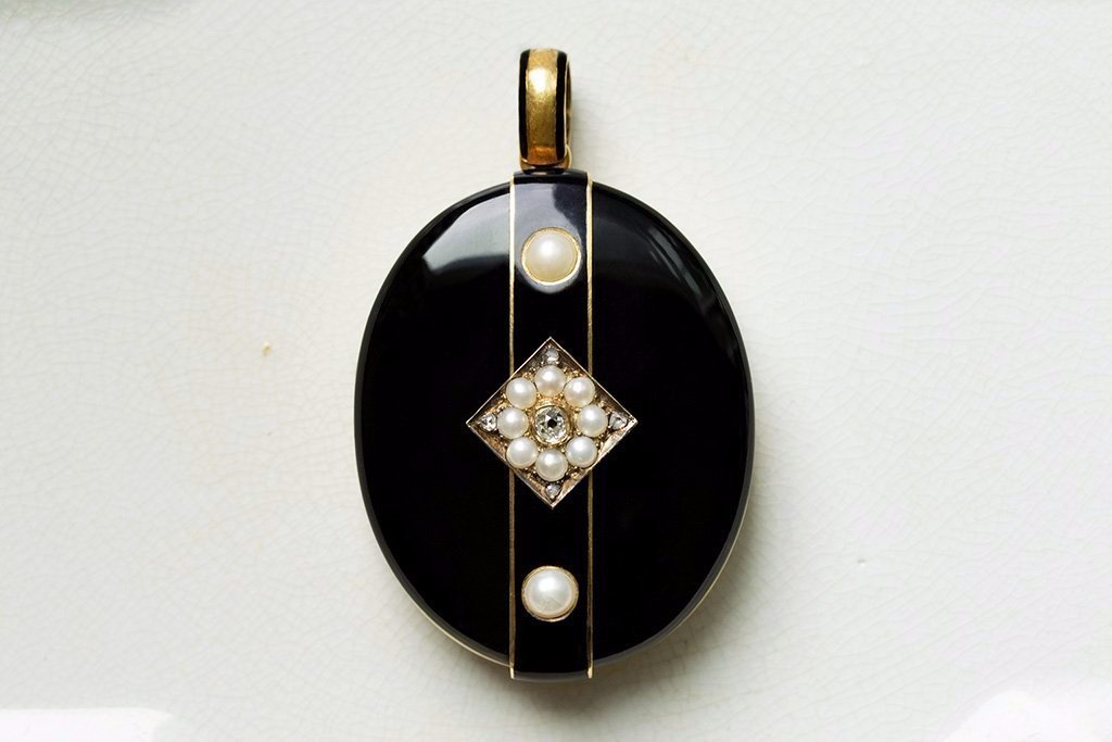 Late Victorian Black Enamel Diamond Pearl Locket