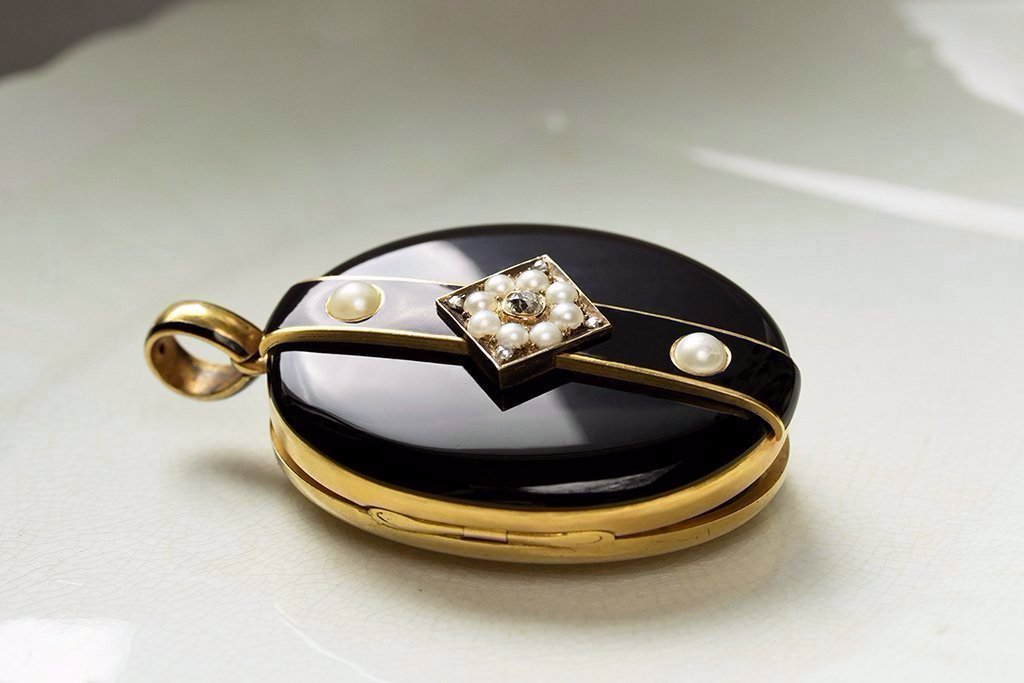 Large Victorian Black Enamel Diamond Pearl Locket