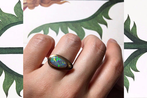 Arts & Crafts Black Opal Ring