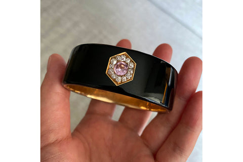 Victorian Black Enamel Bangle with Pink Topaz & Diamond