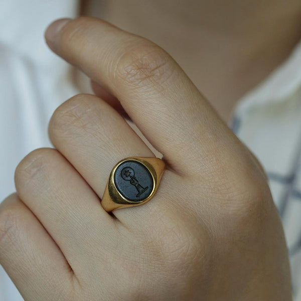 Bloodstone 'Star' Intaglio Signet Ring