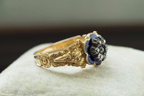 Georgian Blue Enamel and Diamond Ring