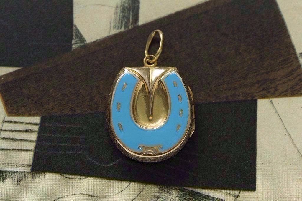 Victorian Blue Enamel Gold Horseshoe Locket