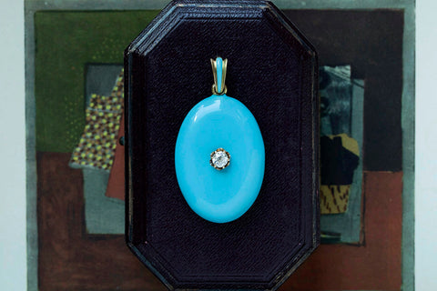 Victorian Blue Enamel & Diamond Locket