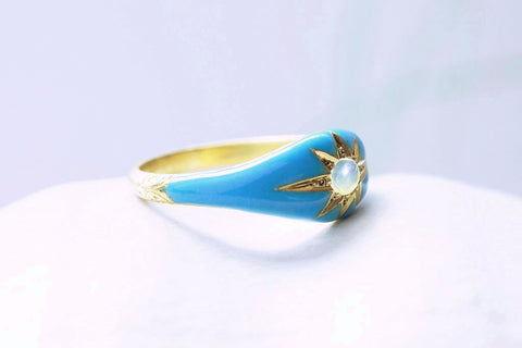 Victorian Blue Enamel and Opal Ring