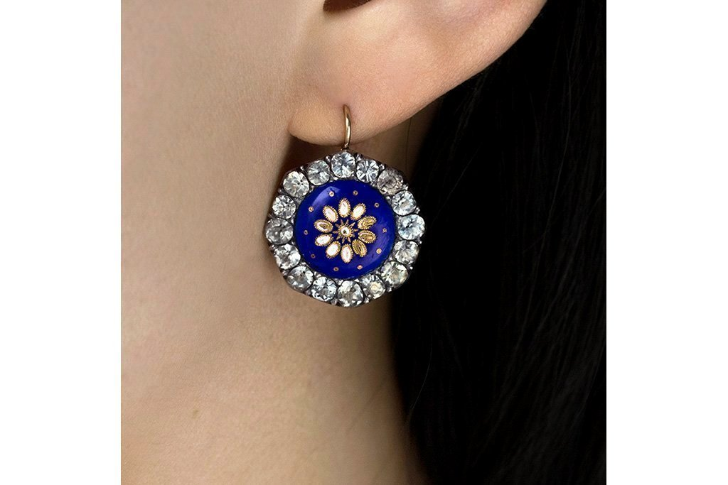 Georgian Blue and Black Dot Paste Earrings