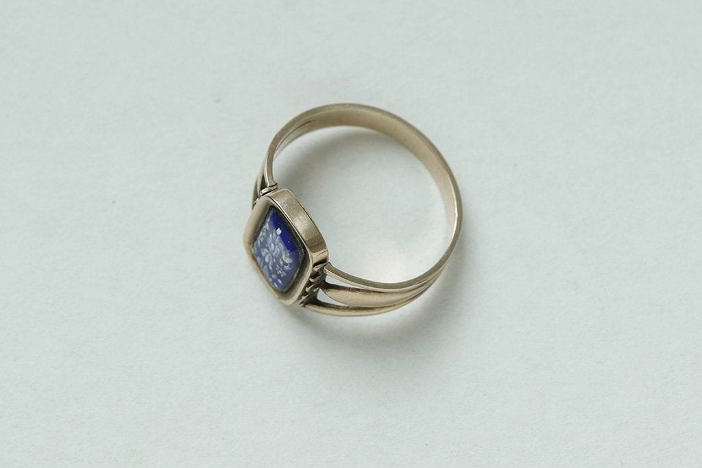 Georgian Blue Enamel Swivel Ring