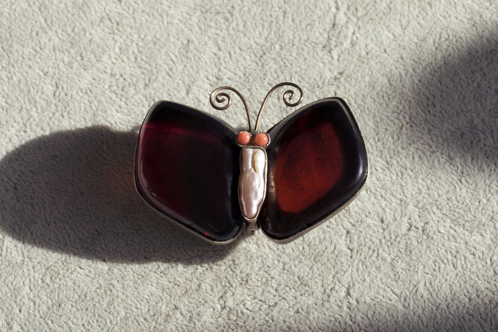 Large Amber Butterfly Brooch