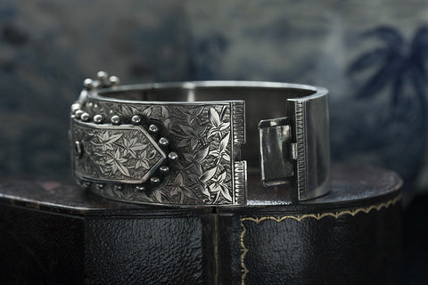 Victorian Sterling Wide Buckle Bangle