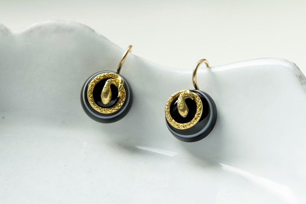 Victorian Bulls Eye Agate and Snake Earrings