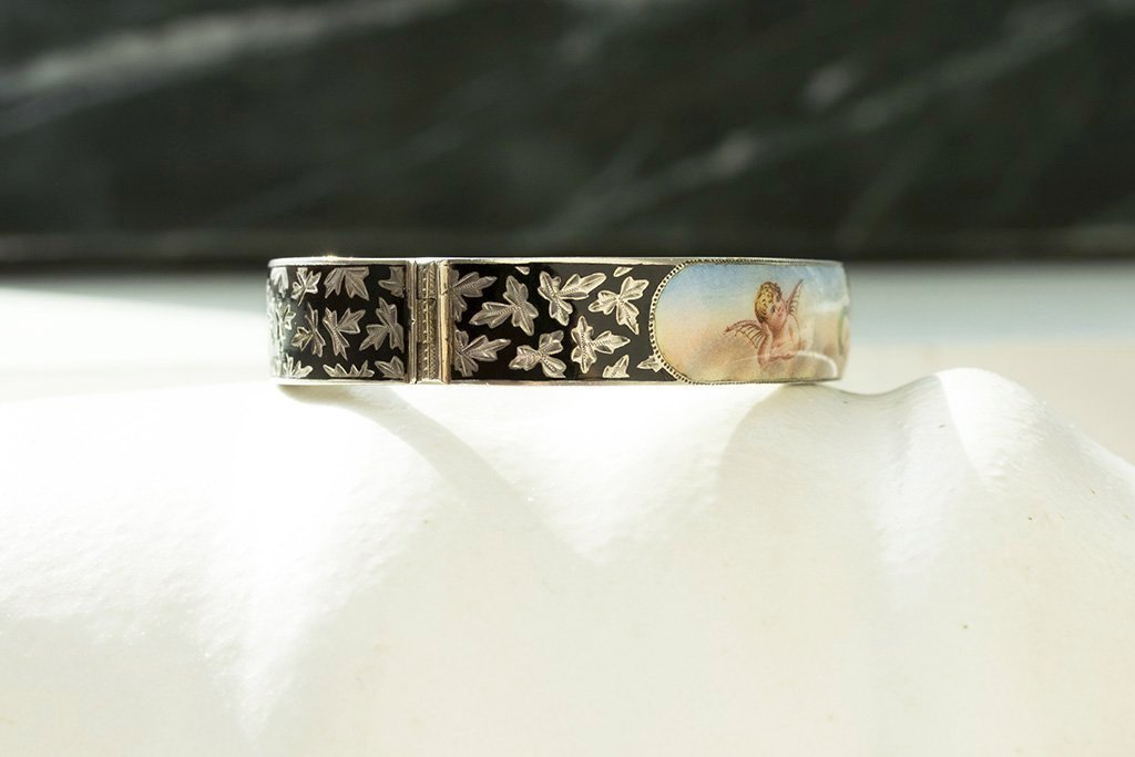Victorian Sterling Silver Enamel Cherub Bangle