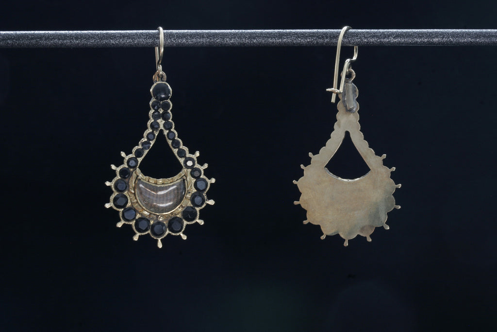 Victorian Jet and Hair Earrings