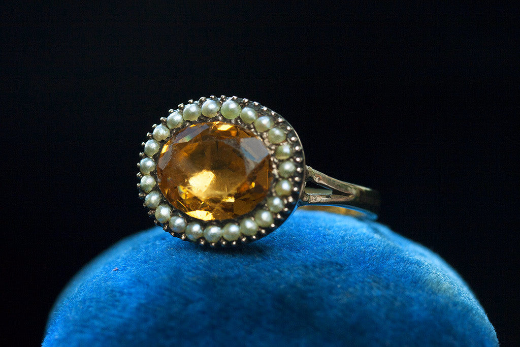 Georgian Citrine Paste and Seed Pearl Ring
