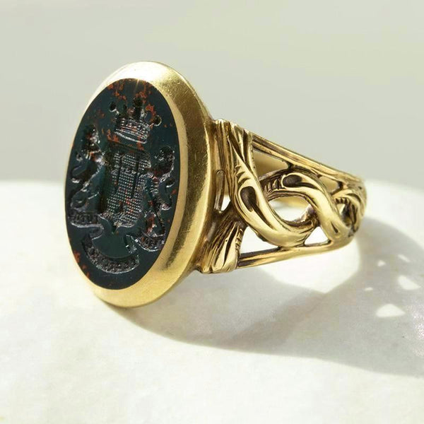 Victorian Bloodstone Intaglio Signet Ring with Coiled Detail