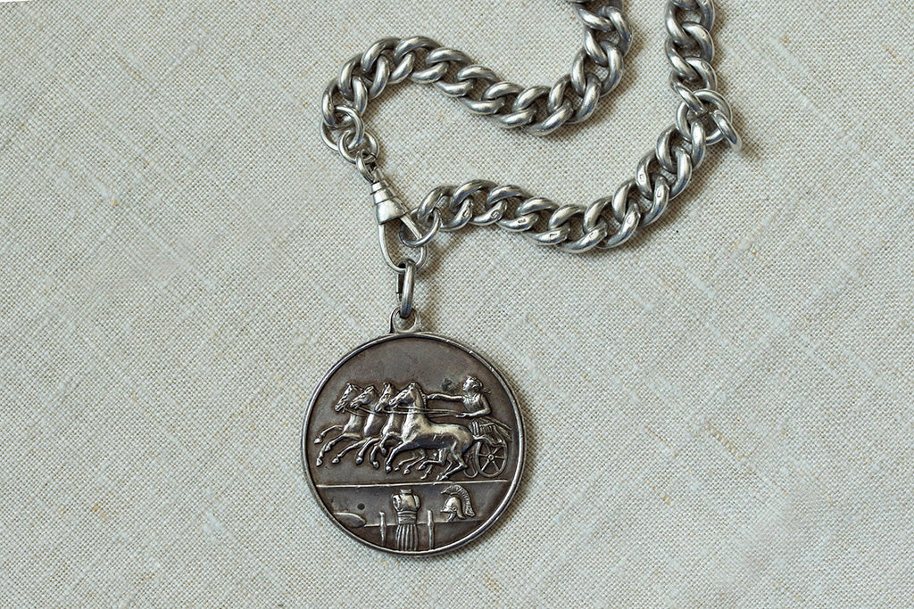 Chunky Sterling Silver Chain & Coin Pendant
