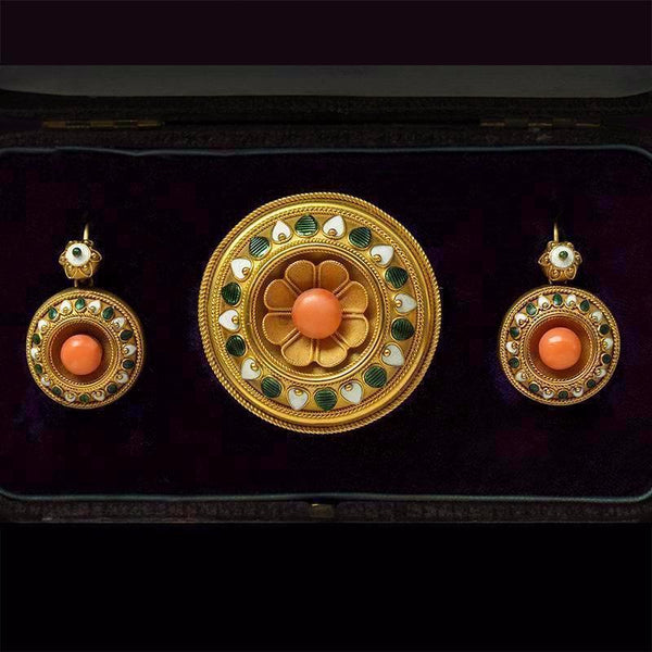 Mid Victorian Coral Enamel Brooch & Earrings Set