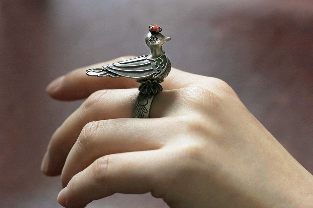Coral Crown Top Peacock Ring
