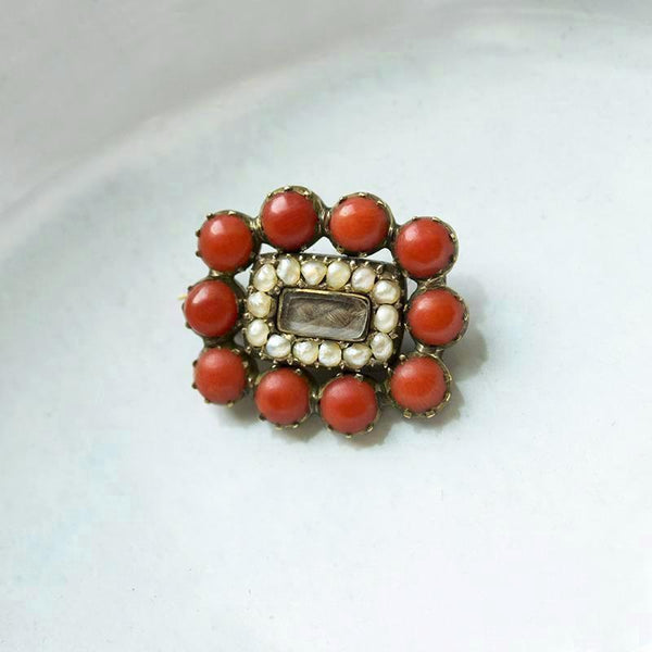 Victorian Coral and Seed Pearl Mourning Pin