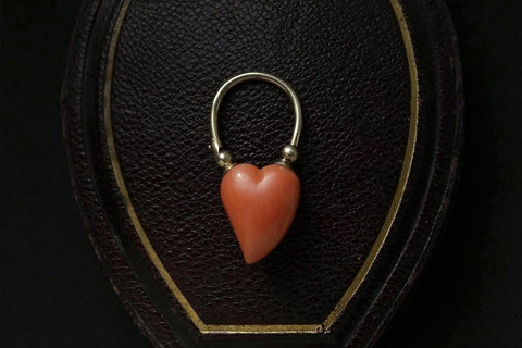 Carved Coral Witches Heart Padlock