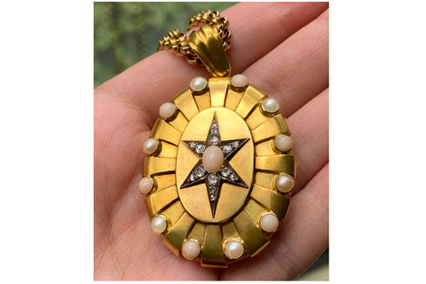 Victorian Diamond, Coral & Pearl Starburst Locket